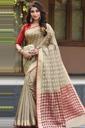 Art Silk Wedding Saree Beige Color With Weaving Work