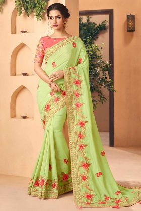 Art Silk Wedding Saree Embroidery In Light Green Color