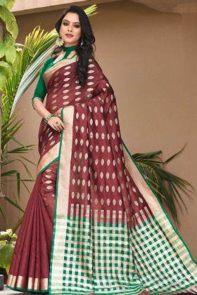Art Silk Wedding Saree For Bride Weaving Work In Maroon Color