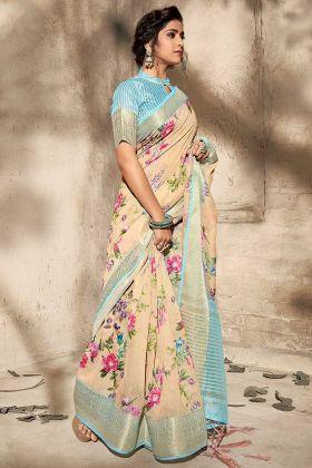 Art Silk Wedding Saree In Cream Color
