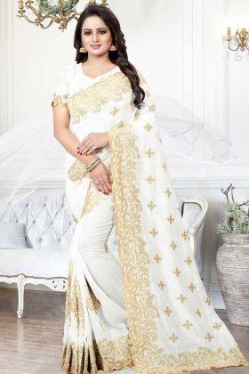Art Silk Wedding Saree Stone Work In White Color