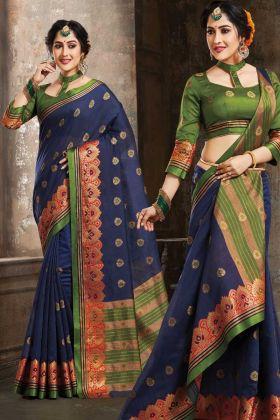Art Silk Wedding Saree Weaving In Navy Blue Color