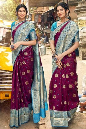 Art Silk Wedding Saree Weaving Work In Wine Color