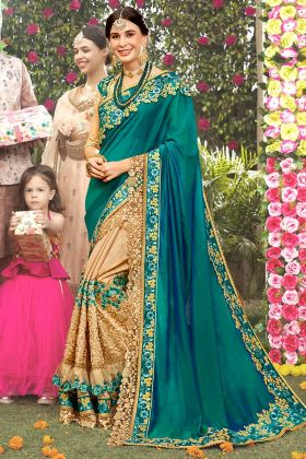 Art Silk Wedding Saree Zari Embroidery Work In Teal Green and Beige Color