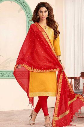 Art Silk Yellow Straight Salwar Suit