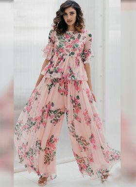 Athia Shetty Peach Floral Printed Palazzo Dress