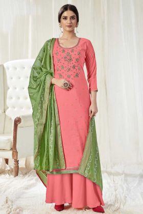 Attractive Baby Pink Color Pure Dola Cotton Salwar Suit