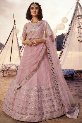 Attractive Baby Pink Wedding Lehenga Choli In Organza Fabric