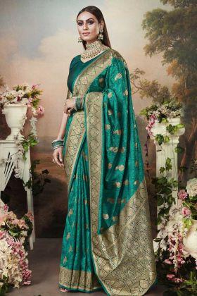 Attractive Banarasi Silk Teal Blue Weaving Saree