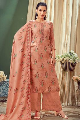 Attractive Coral Color Pure Wool Pashmina Suit