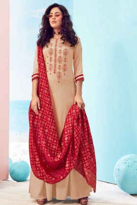 Attractive Cream Color Pure Viscose Maslin Suit For Party