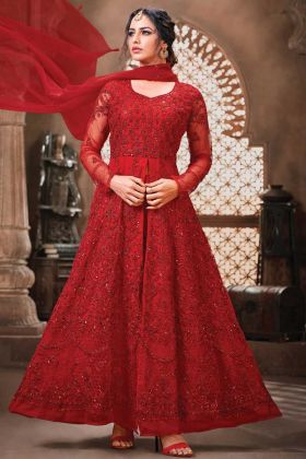 Attractive Latest Red Color Net Fabric Party Wear Suit
