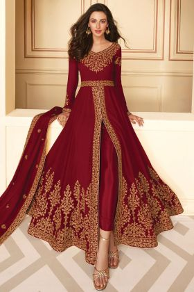 Attractive Looking Embroidered Georgette Maroon Color Heavy Dress