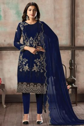Attractive Looking Foux Georgette Blue Woman Heavy Stylish Dress