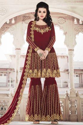 Attractive Looking Heavy Designer Sharara Suit In Maroon