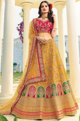 Attractive Musturd Raw Silk Lehenga Choli With Heavy Dupatta