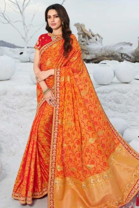 Attractive Orange Color Jacquard Silk Saree For Party