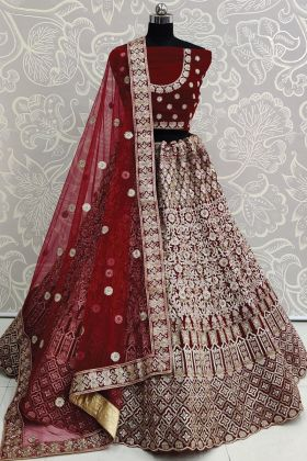 Attractive Pure Velvet Heavy Embroidered Maroon Bridal Lehenga Collection