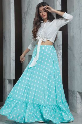 Attractive Readymade White Top With Sky Blue Skirt