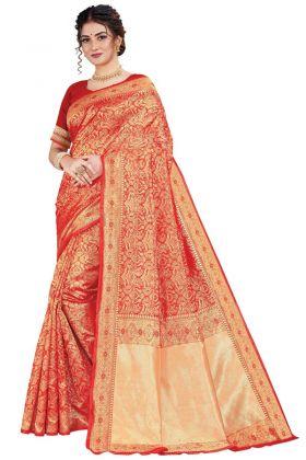 Attractive Red Color Art Silk Weaving Saree