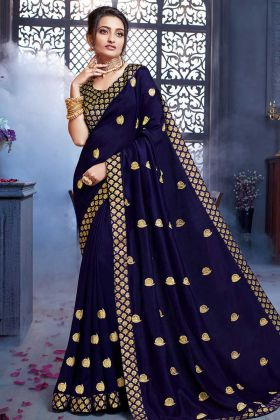 Attractive Saree Art Silk In Navy Blue Color