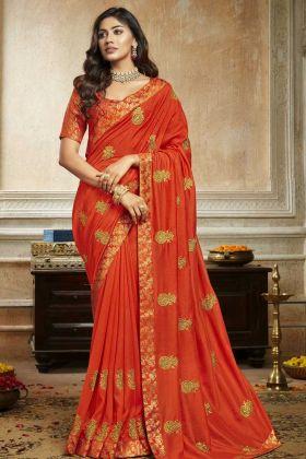 Attractive Saree Soft Art Silk In Orange Color