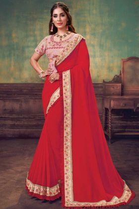 Attractive Silk Georegette Red Color Fashion Saree