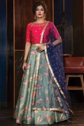 Attractive Teal Green Rayon Lehenga Choli For Reception And Party
