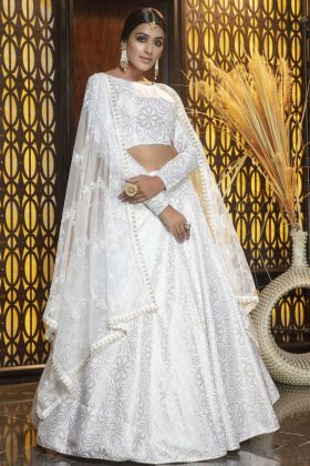 Attractive White Cotton Lehenga Choli For Reception And Party