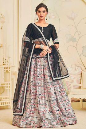 Attractive Silk Partywear Designer Lehenga Off White With Net Dupatta