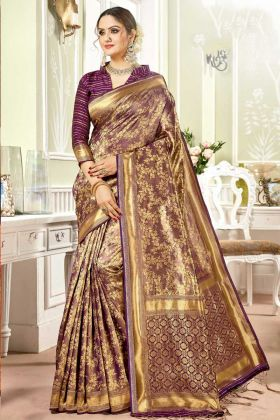 Attractive Weaving Work In Banarasi Art Silk Banarasi Saree Purple Color