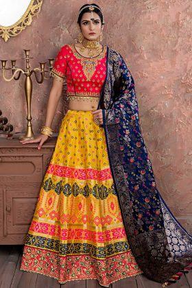 Audacious Yellow Color Banarasi Silk Festival Lehenga Choli With Zari Work