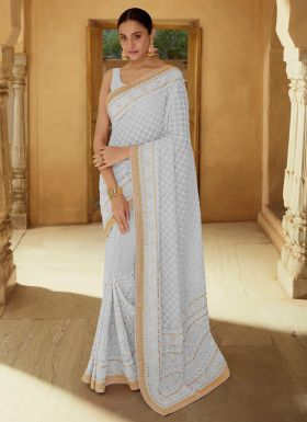 Authentic Light Grey Thread Work Saree