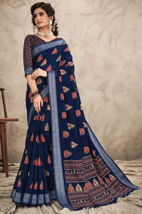 Awesom Look Navy Blue Color Chanderi Saree