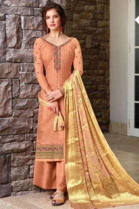 Awesome Look Dark Peach Color Tussar Art Silk Salwar Suit