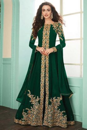Awesome Look Green Embroidered Real Georgette Suit