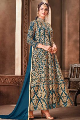 Awesome Look Net Fabric Blue Wedding Wear Suit