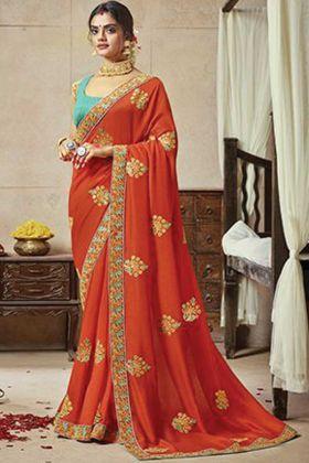 Awesome Look Orange Color Satin Silk Saree