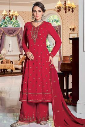 Awesome Look Red Color Party Wear Plazzo Suit