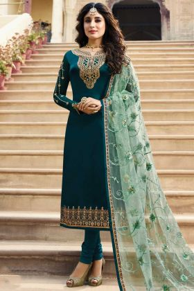 Awesome Looking Teal Blue Satin Georgette Suit