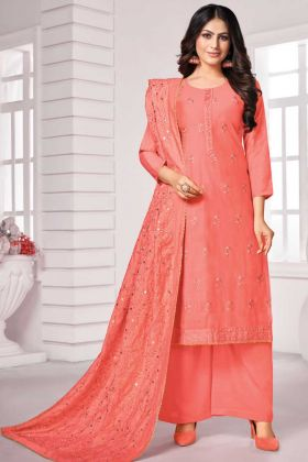 Awesome Peach Color Designer Party Wear Salwar Suit