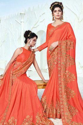 Awesome Art Silk Orange Color Latest Saree Design