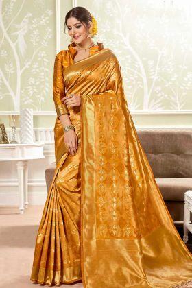 Awesome Look Banarasi Art Silk Saree With Weaving Work Mustard Yellow Color