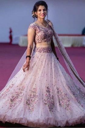 Baby Pink Butterfly Mono Net New Latest Party Wear Lehenga Choli