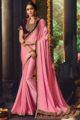 Baby Pink Color Barfi Silk Saree For Party Wear