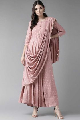Baby Pink Color Printed And Lace Border Rayon Suit