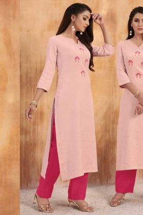 Baby Pink Cotton Slub Hand Work Kurti With Bottom