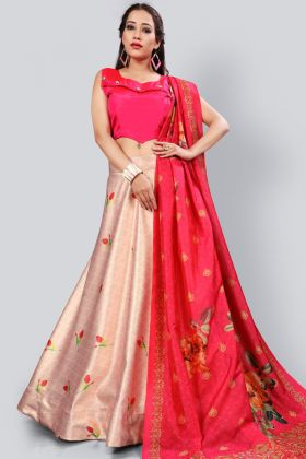 Baby Pink Digital Printed Satin Silk Lehenga Choli