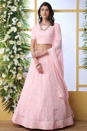 Baby Pink Georgette Bridal Lehenga Design