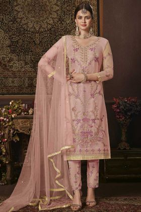 Baby Pink Net Fabric Pant Style Suit In Embroidered Work